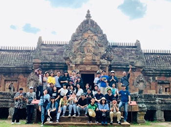"""Architectural students study Thai Architecture at Phanom Rung Historical Park, Rock Castle"""